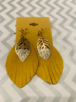 Faux Leather Feather Earrings