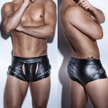 Leather Open Crotch Shorts
