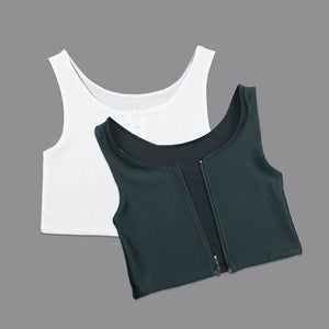 Summer Comfortable Corset  Breast Binder Bamboo Charcoal Zipper Corset  (Large size S-3XL)