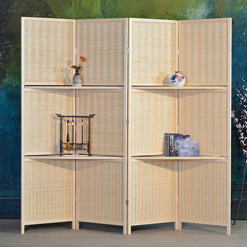4 Panel Bamboo Folding Room Divider with Removable Storage Shelves