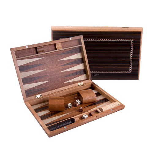 13 Inch Folding Wooden Backgammon Set