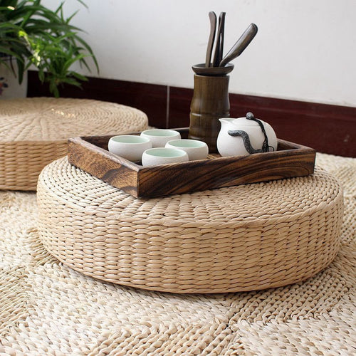 Round Natural Straw Cushion (40cm)