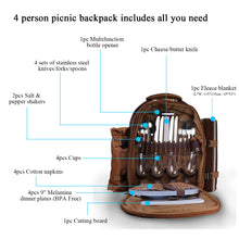 4 Person Picnic Backpack with Cooler/Warmer Compartment & Wine Holder