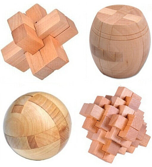 4 Piece Wooden Educational Puzzle Set