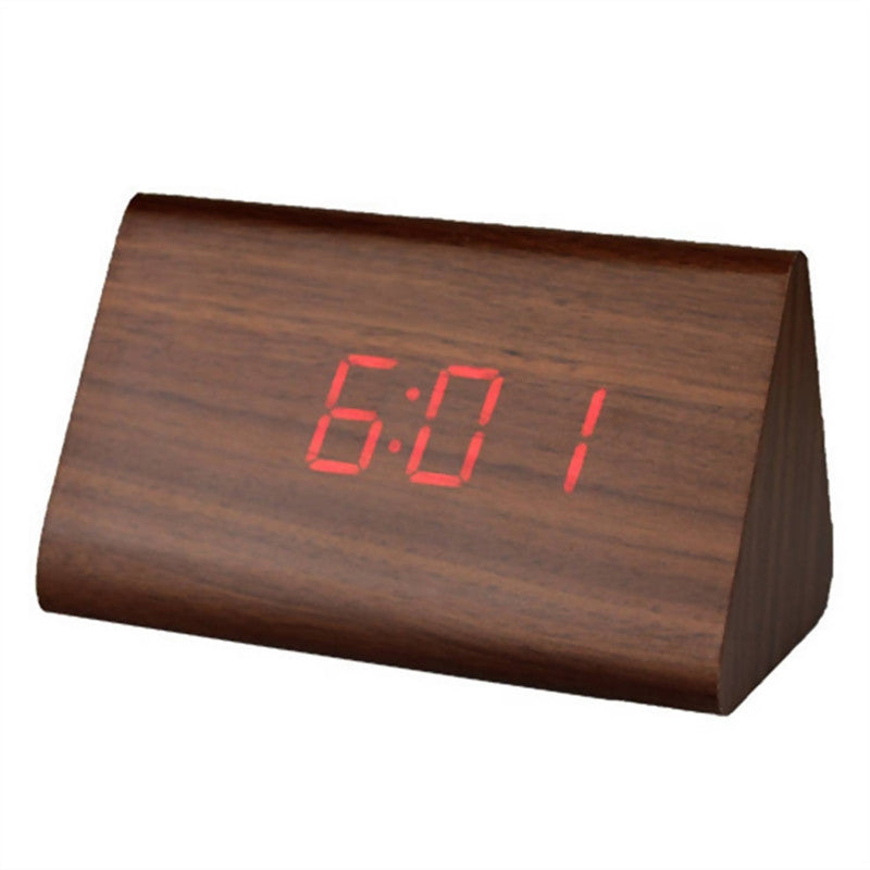 Modern Triangle LED Wooden Alarm Clock (4 colours)