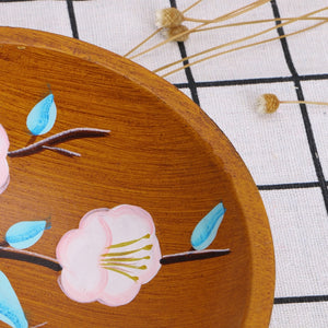 Chinese Style Hand Painted Flower Wood Serving Plate