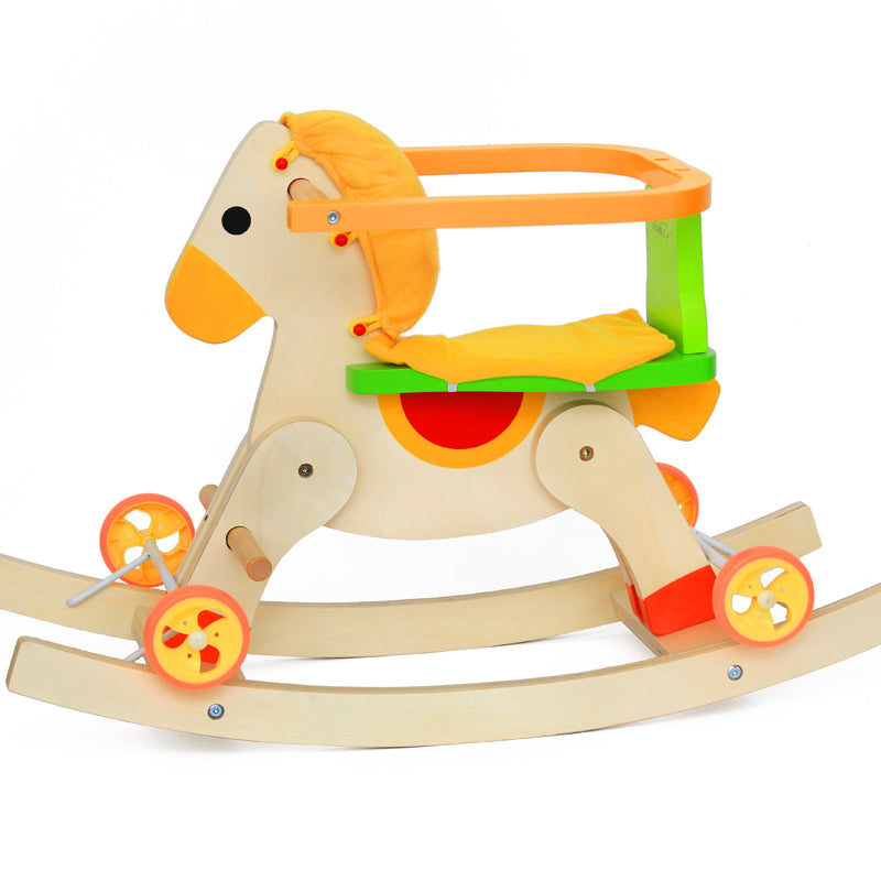 Wooden Rocking Horse with Removable Safety Rails