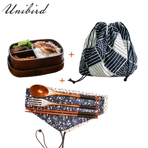 Wooden Japanese Bento Box with Accessories