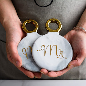 Mr and Mrs Ceramic Coasters with Golden Handle