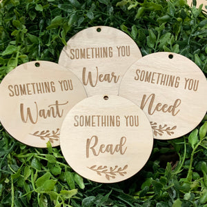 Something you Want, Wear, Need, Read Gift tag- Set of 4