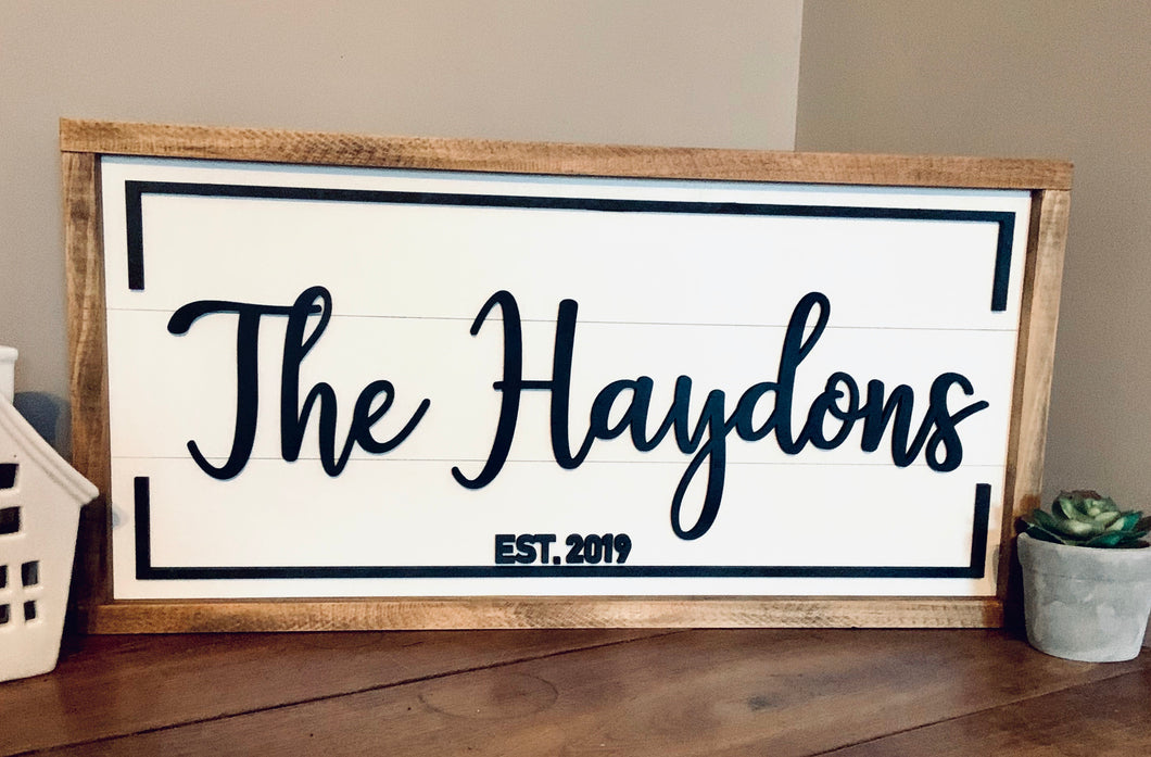 Framed Shiplap Last Name Sign