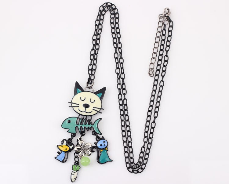DesignedByBNSNY  - Happy Cat Long Chain Pendant Necklace