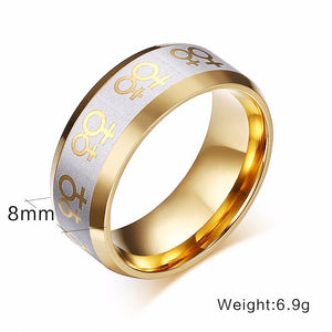 Seed of Life Stainless Steel LGBT Ring, Gold Plated