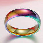 LGBT Rainbow Glimmer Stainless Steel Ring