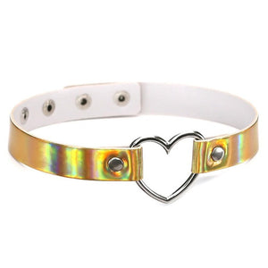 'Metal Heart' Collar Rainbow Choker Necklace (Various Colors)