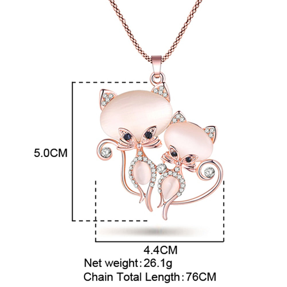 Krystal Kitty Pendant Necklace