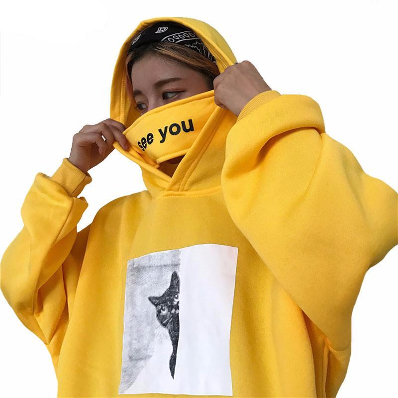 'Peeking Cat' Hoodie and Mask ( 2 Colors)