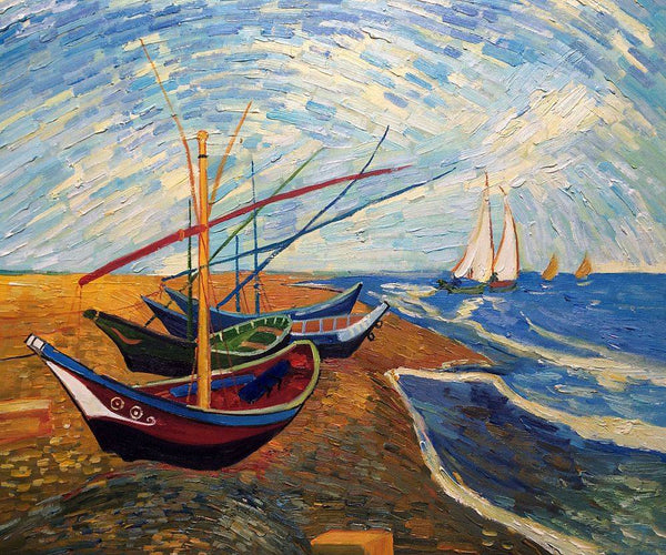 Fishing Boats on the Beach at Saintes-Maries - Vincent Van Gogh - Nova Paintings