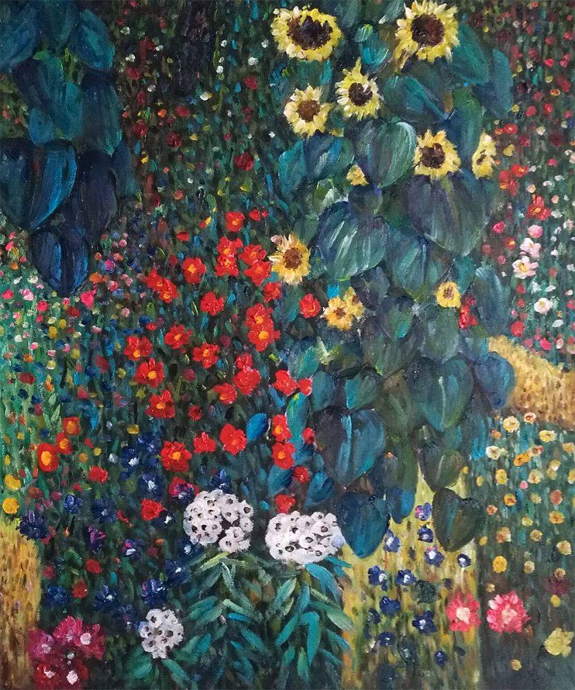 Superbe Farm Garden With Sunflowers   Gustav Klimt   Nova Paintings