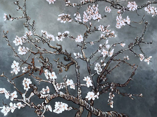 Branches of an Almond Tree in Blossom, Pearl Grey - Vincent Van Gogh