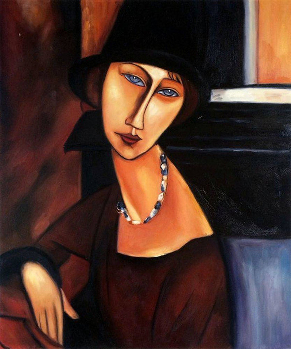 Jeanne Hebuterne with Hat and Necklace - Amedeo Modigliani - Nova Paintings
