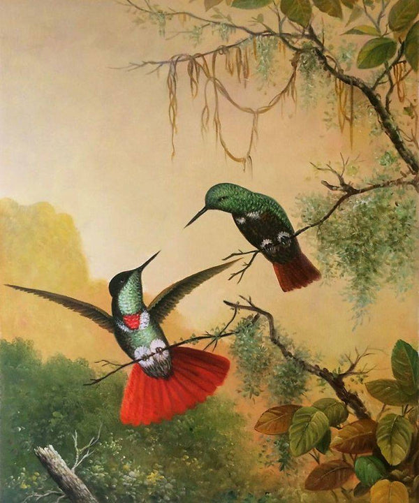 Two Hooded Visorbearer Hummingbirds - Martin Johnson Heade - Nova Paintings