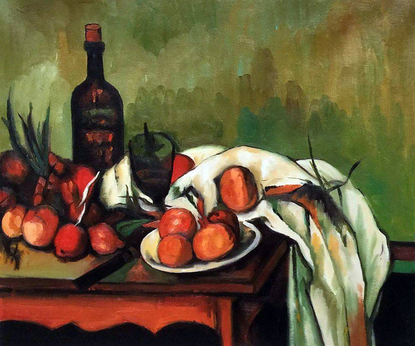Still Life with Onions and Bottle - Paul Cezanne - Nova Paintings