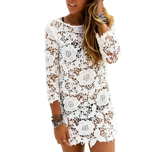 Sexy Lady Long Sleeve O-neck Mini Dress Hollow Out White Lace Dress - Poshify