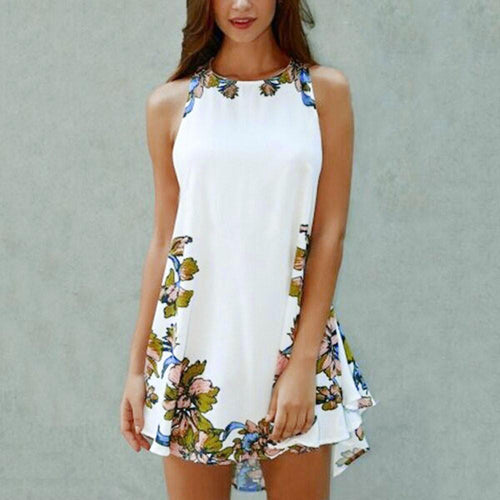 New Summer Casual Sleeveless Party Beach Short Mini Dress - Poshify