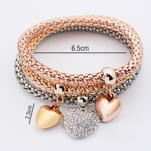 Crystal Heart Charm Bracelets - 3 Pc Set - Poshify