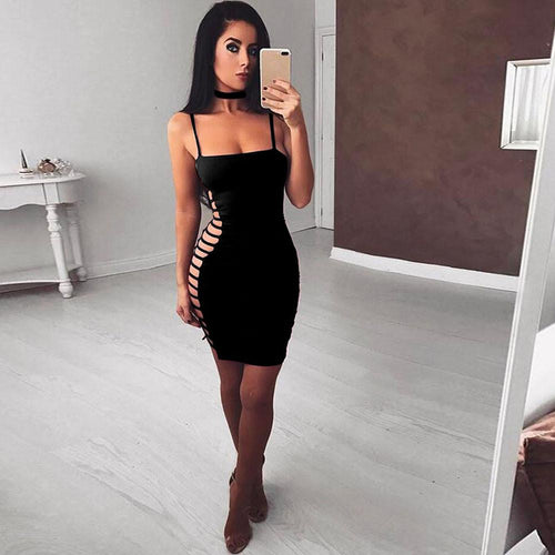 New Summer Party Dresses Sexy Strappy Choker Wrap Over Sleeveless Bandage Bodycon Party Dress - Poshify