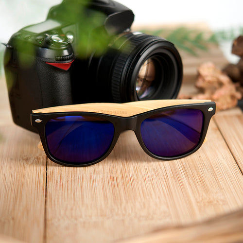Summer Style Polarized Bamboo with Black Square mirrored Sunglasses - Poshify