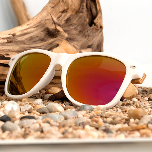 100% Genuine Bamboo Wood Polarized Sunglasses With Reflective Mirror and Stylish White Frame - Poshify