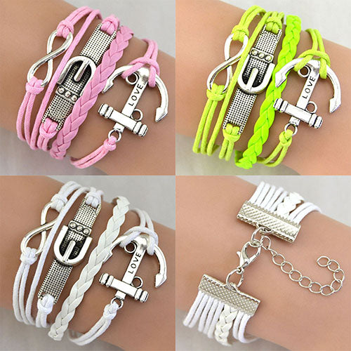 Women's Fashion Multi-Layer Love Carved Buckle Anchor Bow Braid Strap Bracelet - Poshify