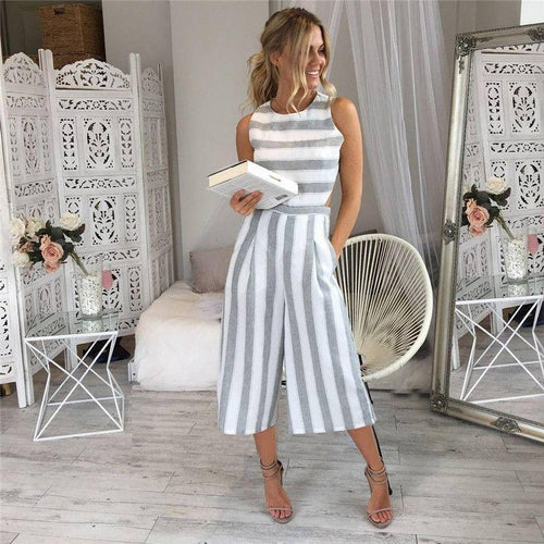 Stripe Print Sleeveless Zipper Back Romper New - Poshify