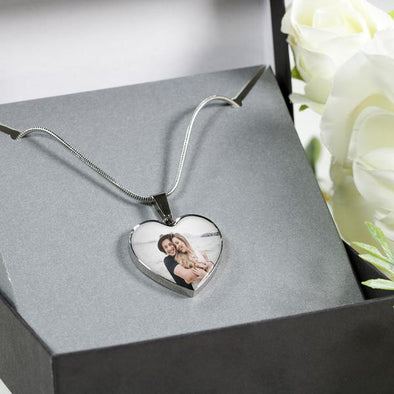 Valentines Personalized Photo Heart Pendant Necklace