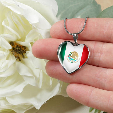 Mexico Flag Heart Pendant Necklace - lottierocks