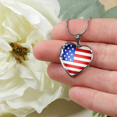 USA Flag Heart Pendant Necklace - lottierocks