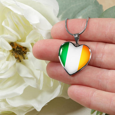 Ireland Flag Heart Pendant Necklace - lottierocks