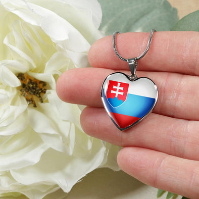Slovakia Flag Heart Pendant Necklace - lottierocks