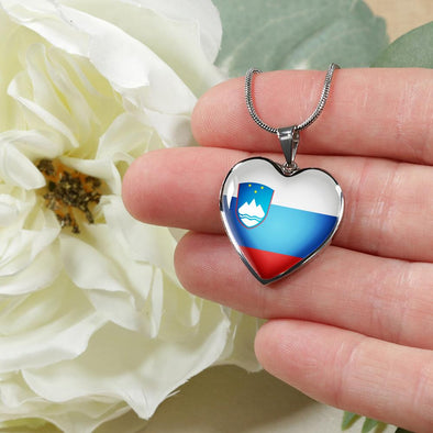 Slovenia Flag Heart Pendant Necklace - lottierocks