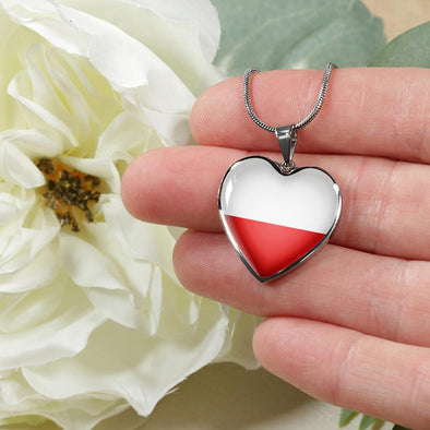 Poland Flag Heart Pendant Necklace - lottierocks
