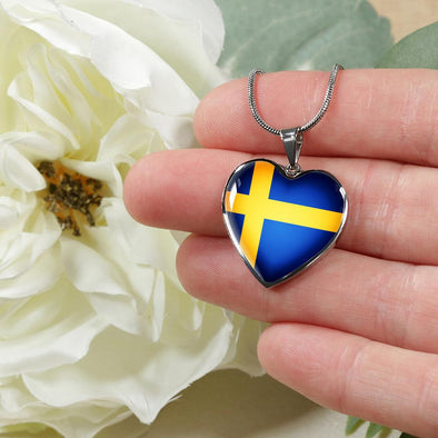 Sweden Flag Heart Pendant Necklace - lottierocks