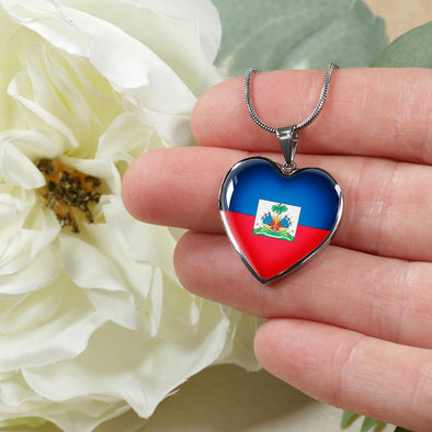 Haiti Flag Heart Pendant Necklace - lottierocks