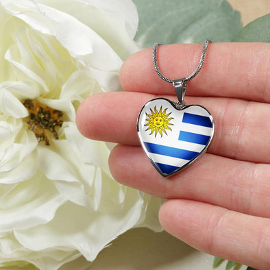 Uruguay Flag Heart Pendant Necklace - lottierocks