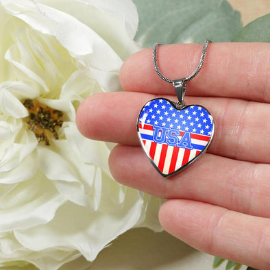 Team USA Flag Heart Pendant Necklace - lottierocks