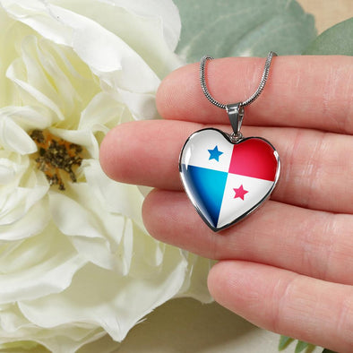 Panama Flag Heart Pendant Necklace - lottierocks