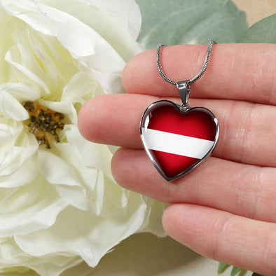 Latvia Flag Heart Pendant Necklace - lottierocks