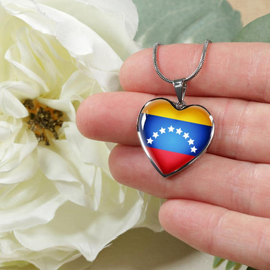 Venezuela Flag Heart Pendant Necklace - lottierocks