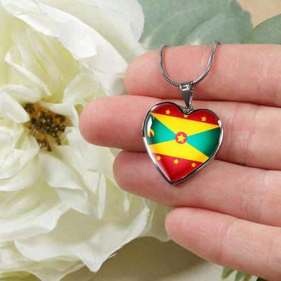 Grenada Flag Heart Pendant Necklace - lottierocks